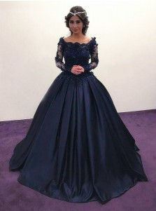 Ball Gown Off Shoulder Dark Blue Satin Quinceanera Dress with Appliques Sleeves