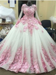 Ball Gown Round Neck White Organza Quinceanera Dress with Appliques