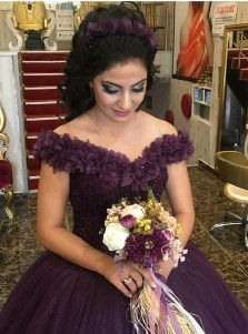 Ball Gown Off-the-Shoulder Grape Tulle Beaded Quinceanera Dress with Flowers