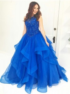 Ball Gown Round Neck Royal Blue Tulle Quinceanera Dress with Beading
