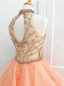 Ball Gown High Neck Open Back Peach Organza Beaded Quinceanera Dress
