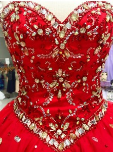 Ball Gown Sweetheart Red Tulle Beaded Sequins Quinceanera Dress