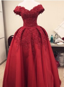 Ball Gown Off-the-Shoulder Burgundy Tulle Appliques Quinceanera Dress