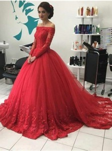 Ball Gown Strapless Red Tulle Appliques Long Sleeves Quinceanera Dress