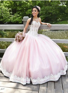 Ball Gown Sweetheart Pearl Pink Tulle Beaded Quiceanera Dress with Appliques