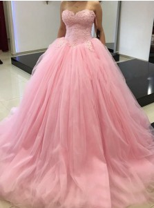 Ball Gown Sweetheart Floor-Length Pink Tulle Quiceanera Dress with Appliques