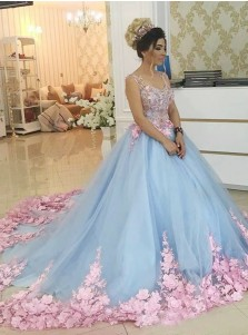 Ball Gown Scoop Blue Tulle Quiceanera Dress with Beading Appliques