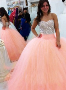 Ball Gown Sweetheart Peach Tulle Quinceanera Dress with Sequins