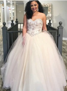 A-Line Sweetheart Light Champagne Tulle Quinceanera Dress with Beading