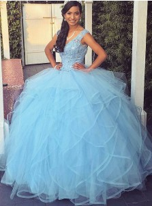 Ball Gown Scoop Blue Tulle Quinceanera Dress with Appliques Beading