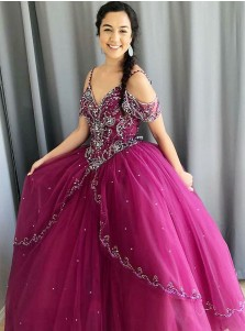 Ball Gown Cold Shoulder Blue Tulle Quinceanera Dress with Beading