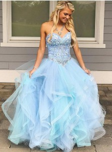 Ball Gown Sweetheart Asymmetry Light Blue Quinceanera Dress with Beading