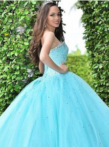 Ball Gown Sweetheart Turquoise Tulle Quinceanera Dress with Beading