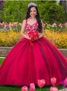 Ball Gown Straps Red Tulle Quinceanera Dress with Appliques Beading