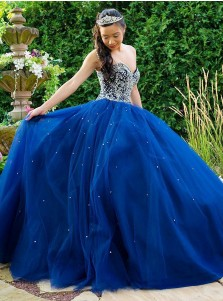 Ball Gown Sweetheart Blue Tulle Quinceanera Dress with Beading