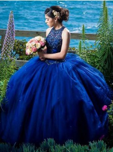 Ball Gown Round Neck Blue Tulle Quinceanera Dress with Beading