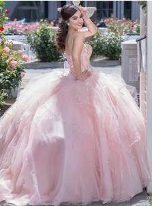 Ball Gown Spaghetti Straps Pink Tulle Quinceanera Dress with Beading