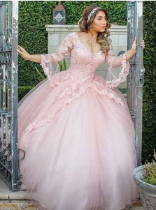 Ball Gown Off-the-Shoulder Pink Tulle Quinceanera Dress with Appliques Sleeves
