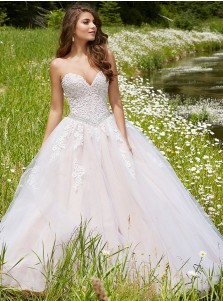 Ball Gown Sweetheart Pearl Pink Tulle Quinceanera Dress with Lace Appliques
