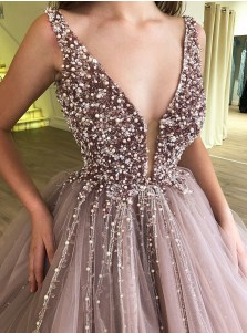 A-Line V-Neck Low Cut Blush Tulle Quinceanera Dress with Beading Sequins