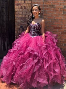 Ball Gown Sweetheart Floor Length Fuchsia Organza Quinceanera Dress with Beading