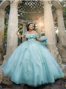 Ball Gown Off-the-Shoulder Turquoise Quinceanera Dress with Appliques and Lace