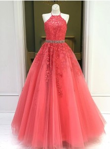Red Appliques Long Prom Dress
