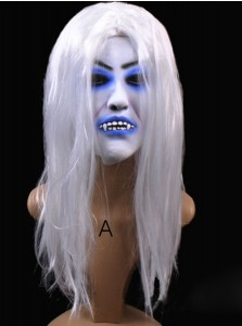 Terrible Halloween Mask White Latex Toothy Blooded Halloween Prop with Long Hair