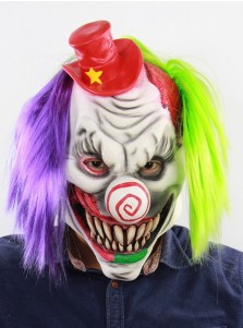 Horrible Toothy Purple and Green Hair Latex Clown Mask Halloween Party