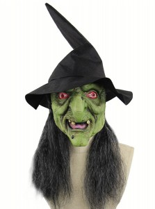 Creepy Latex Halloween Masks Green Face Witch Halloween Mask with Grey Hair and Hat
