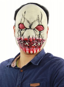 Super Scary Halloween Masks Cheap Bloody Horror Latex Mask with Scars