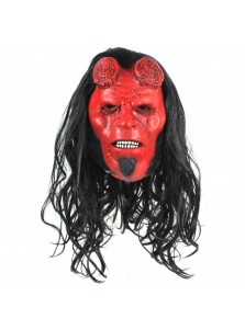 Hellboy Mask with Hair Halloween Cosplay Costume Accessories Overhead Latex Prop