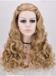 Cinderella Medium Long Scroll Brown Rayon Cosplay Wig