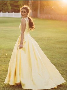 Yellow A-Line Long Prom Dress