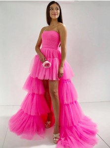 Pink Tiered Long Prom Dress