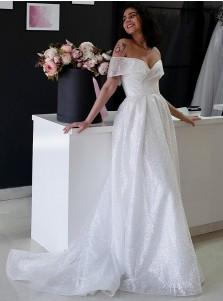 A-Line Sleeveless Sweep Train Wedding Dress with Sequins
