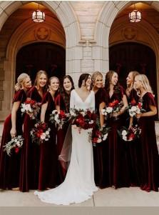 Burgundy A-Line Short Sleeves Long Bridesmaid Dress