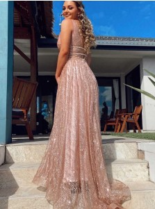 Champagne Sheath Sequins Prom Dress