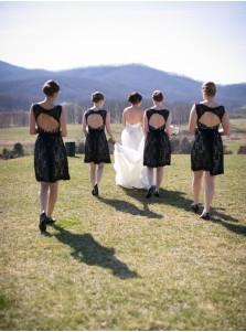 Simple & Hot Scoop Open Back Lace Black Short Bridesmaid Dresses LAND-70946