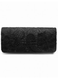 Black Lace Drop in Chain Clutch Purse