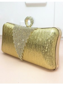 Gold Beaded Closure Chain Box Clutch