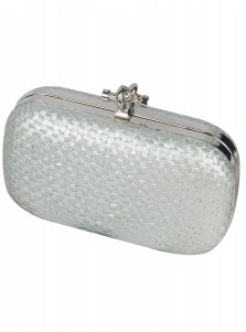 Silver Closure Straw Box Clutch