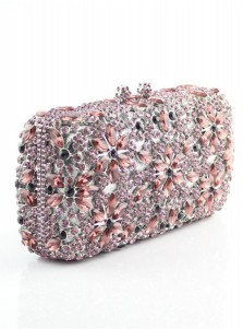 Lilac Closure Beaded Crystal Box Clutch