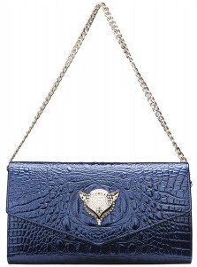 Blue Leather Solid Chain Clutch Purse