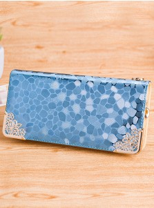 Light Blue Zipper Closure PU Clutch Purse
