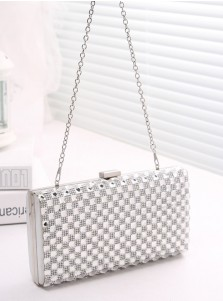 Silver Crystal Chain Single-Shoulder Clutch Bag