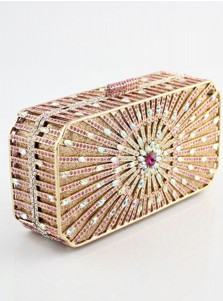 Gold Color Closure Beaded Box Clutch
