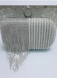 Luxury Silver Beaded Fringe Pearl Box CLutch