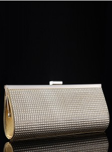 Gold Closure Beaded Chain Clutch Purse