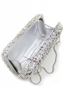 Luxury Silver Closure Beaded Box Clutch